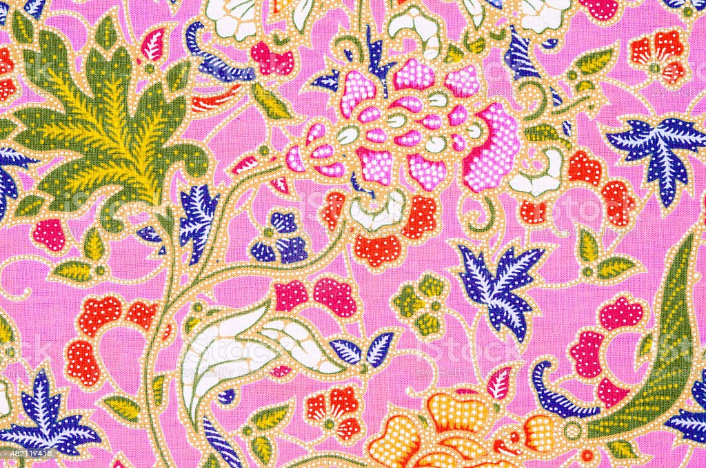 Abstract bright textile in batik's. stock photo