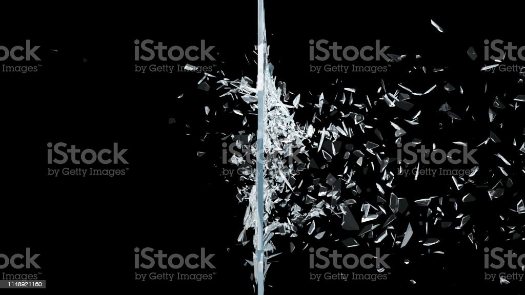 Abstract broken glass into pieces. Wall of glass shatters into small...