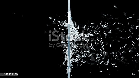 Abstract broken glass into pieces. Wall of glass shatters into small pieces. Place for your banner, advertisement. Explosion caused the destruction of glass, 3d illustration