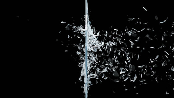 abstract broken glass into pieces. wall of glass shatters into small pieces. place for your banner, advertisement. explosion caused the destruction of glass. 3d illustration - destruição imagens e fotografias de stock