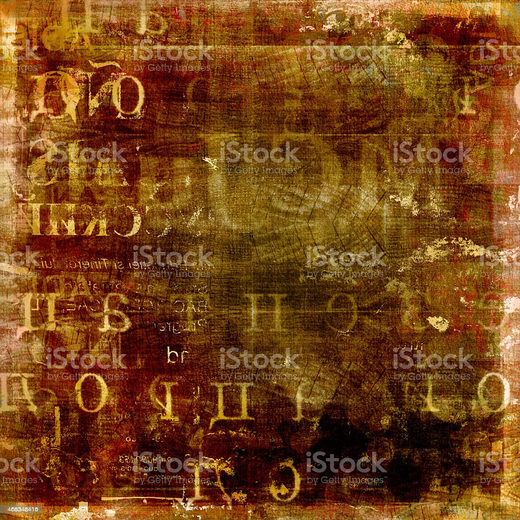 Abstract brown background with gold letters royalty-free stock photo