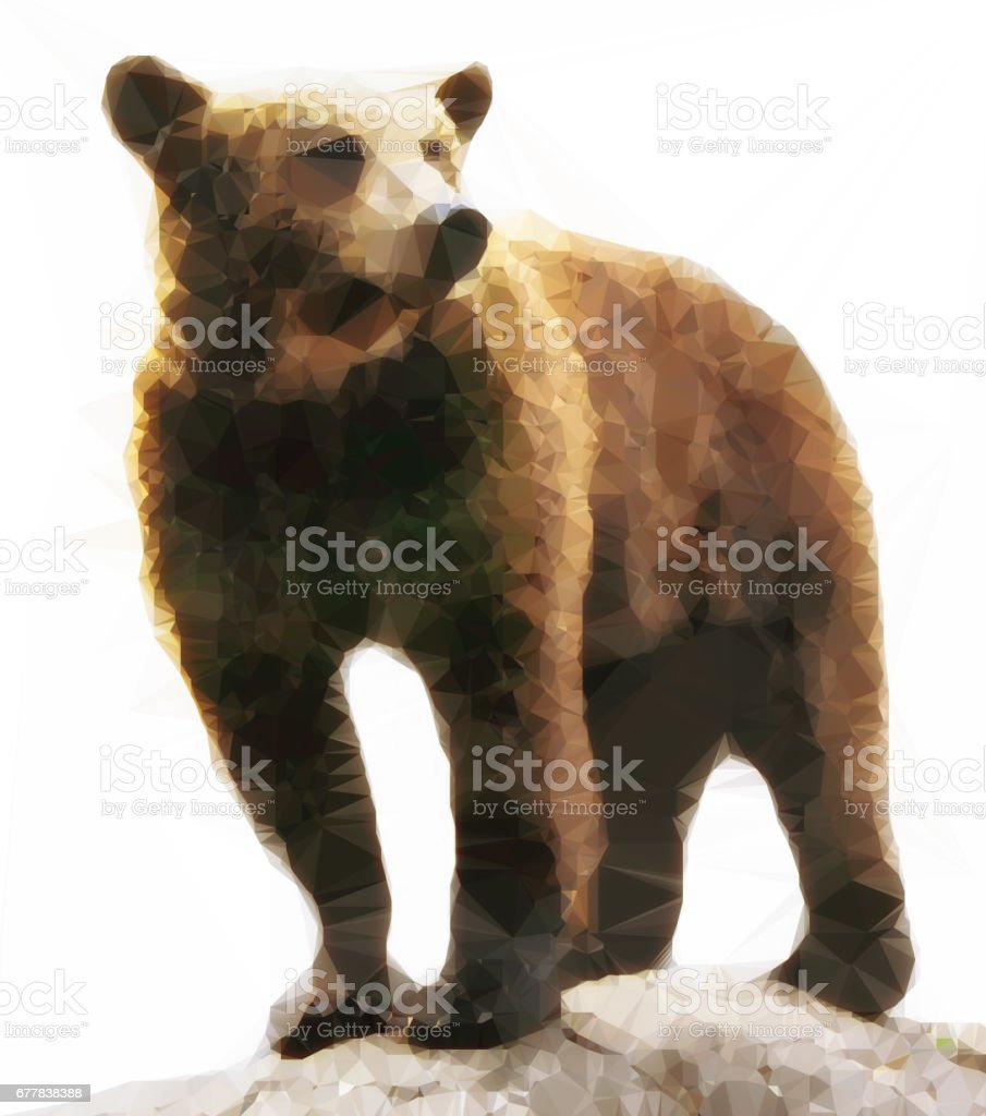 abstract brown grizzly bear polygonal style picture stock photo