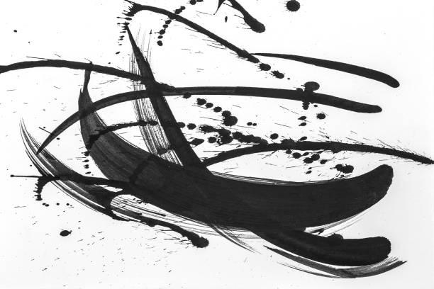 Pinceladas abstratas e salpicos de tinta em papel branco. Textura de aquarela para papel de parede ou design arte trabalho criativo, cores preto e brancos. - foto de acervo