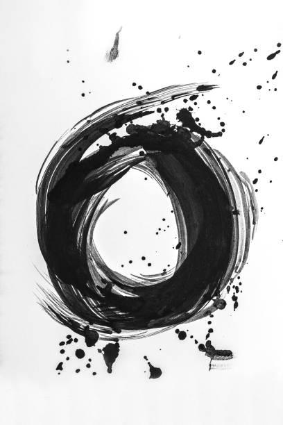 Pinceladas abstratas e salpicos de tinta em papel branco. Textura de aquarela para papel de parede ou design arte trabalho criativo, cores preto e brancos.