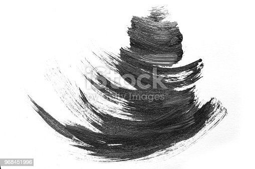 istock Abstract brush strokes and splashes of paint on white paper. Watercolor texture for creative wallpaper or design art work, black and white colors. 968451996
