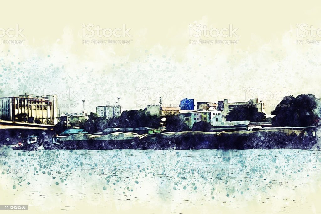 Abstract Building and sea foreground on watercolor painting...