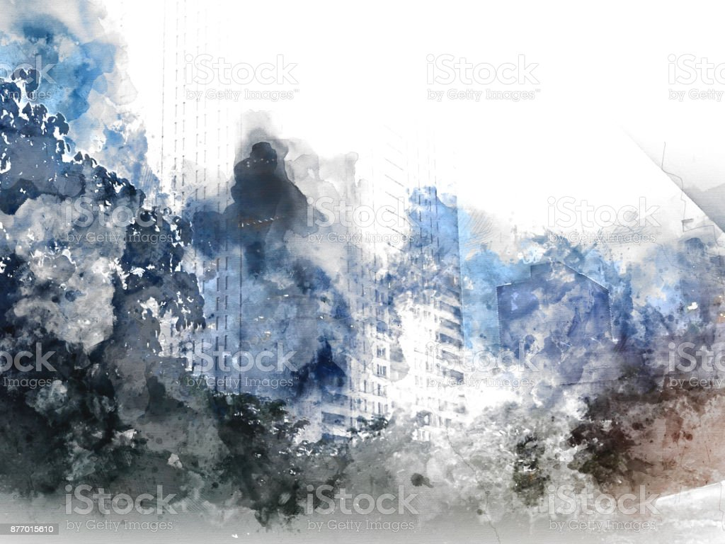 Abstract Building, City on Digital illustration brush to art stock photo