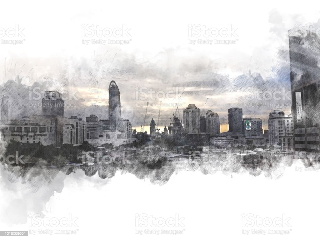Abstract building in the capital city on watercolor painting...
