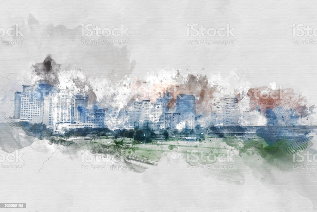 Abstract Building in the city on watercolor painting background. City...