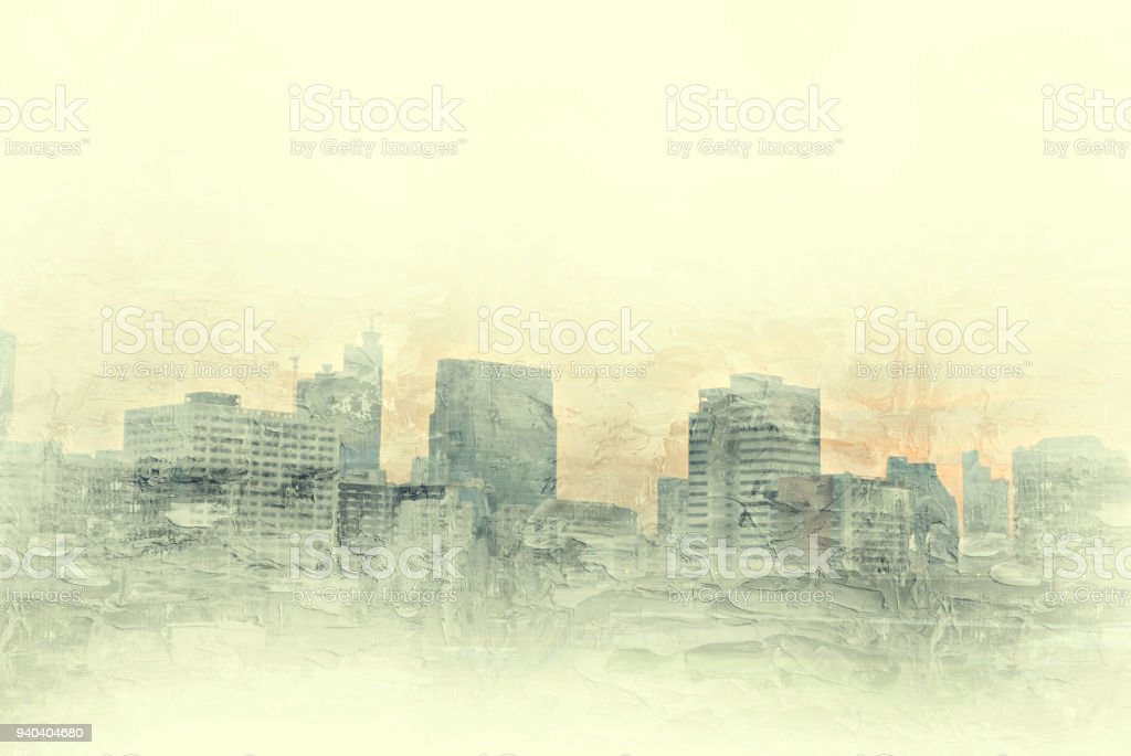 Abstract Building In The City On Watercolor Painting Background Digital Illustration Brush To