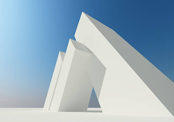 Abstract building of white structure stock photo