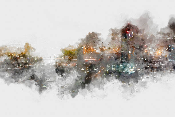 Abstract Building on watercolor painting background. City on Digital illustration brush to art stock photo