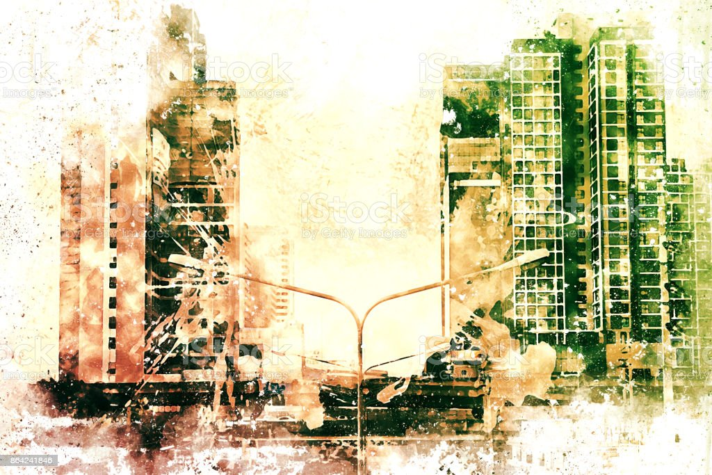 Abstract Building on watercolor painting background. City on Digital illustration brush to art. royalty-free stock photo