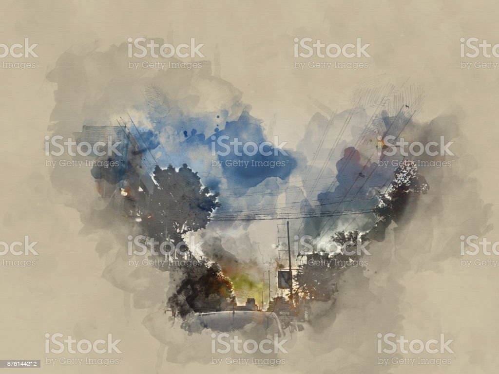 Abstract Building on watercolor painting background. City on Digital...