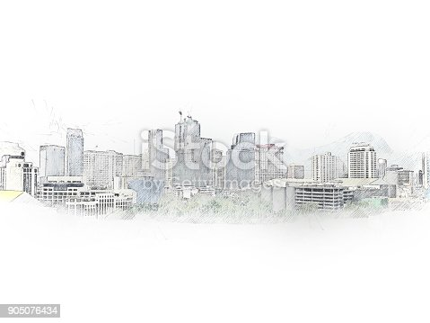 istock Abstract Building on watercolor painting background. City on Digital illustration brush to art. 905076434