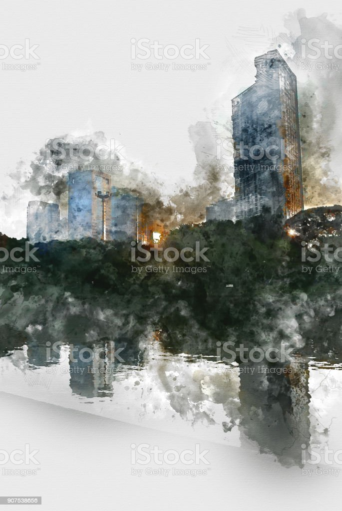 Abstract Building on watercolor painting background. City on Digital illustration brush to art. stock photo
