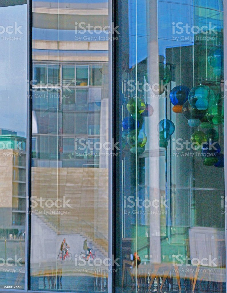 Abstract building reflection, Government Area, Berlin stock photo