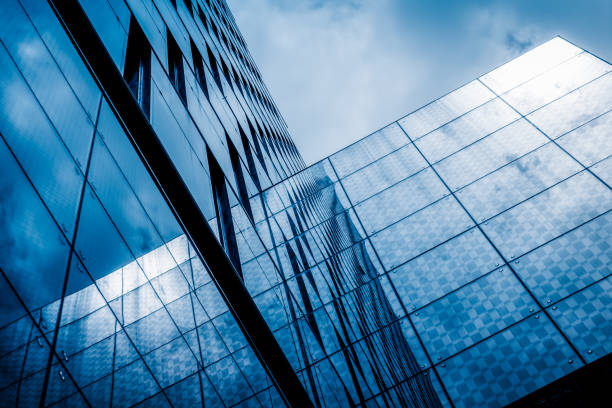 abstract building reflections tower building - office building exterior stock pictures, royalty-free photos & images