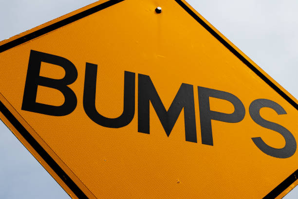 Abstract bumps road sign close up stock photo
