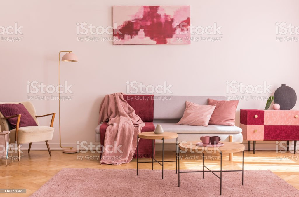 Abstract Burgundy And Pastel Pink Painting On Empty White ...