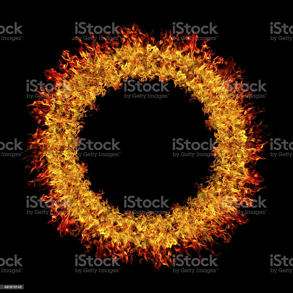 Abstract burning fire circle top view vector background stock photo
