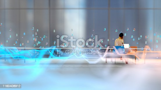 Businesswoman in a modern office surrounded by abstract lines and numbers. All elements in the environment are 3D