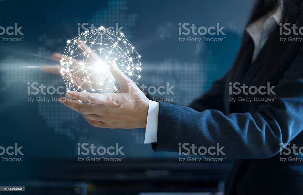 Abstract business, Business woman circle global network stock photo