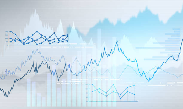 Abstract business chart with uptrend line graph stock photo