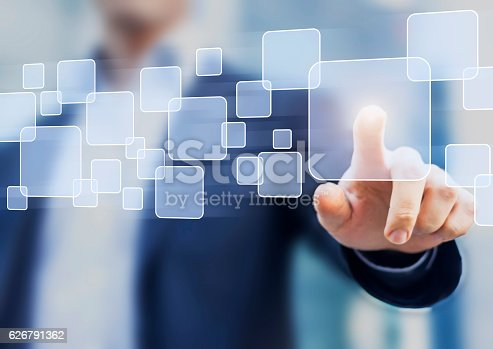 istock Abstract business concept, businessman touching button on a virtual interface 626791362