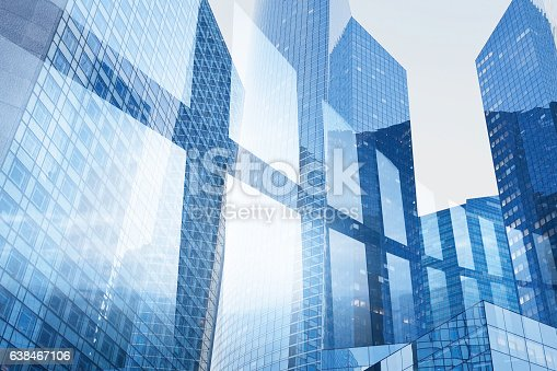 istock abstract business interior background, blue window double exposure 638467106