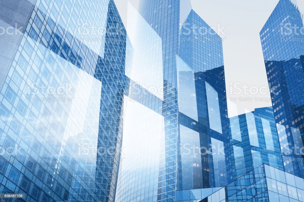 abstract business interior background, blue window double exposure stock photo