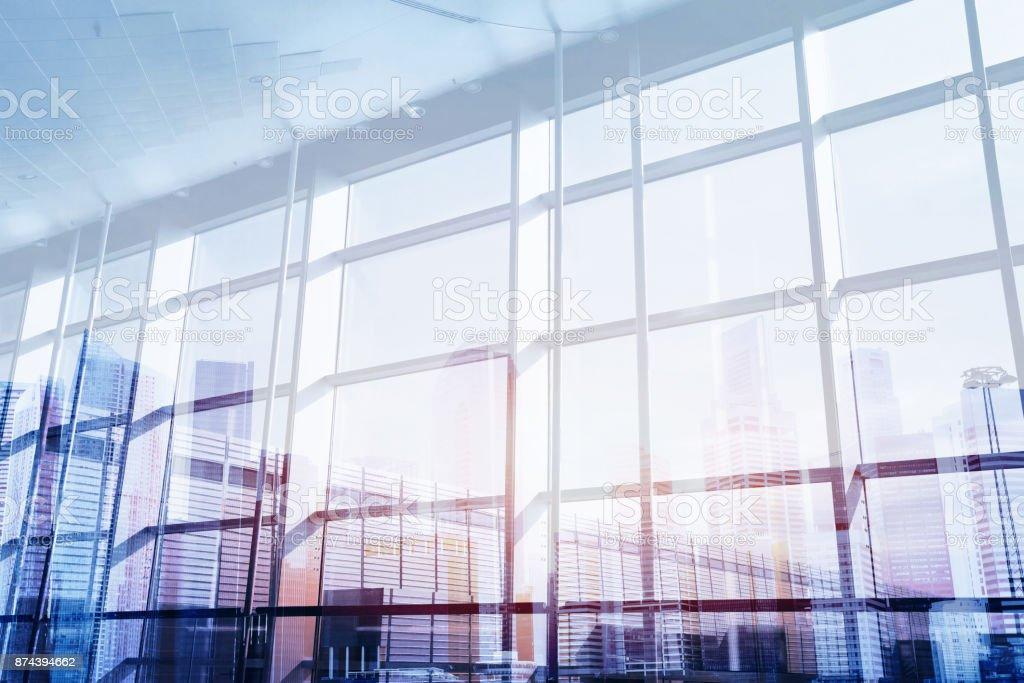 abstrakt Business Innenraum Doppelbelichtung – Foto