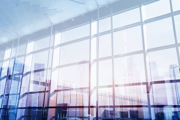 abstract business interior double exposure stock photo