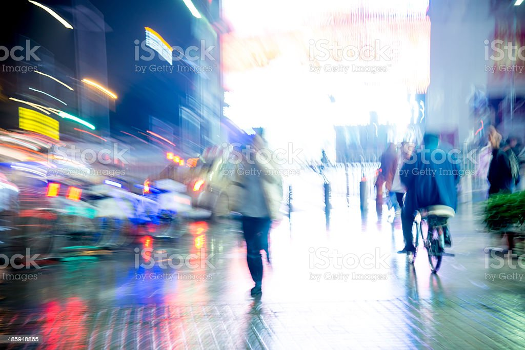 abstract business life at night stock photo