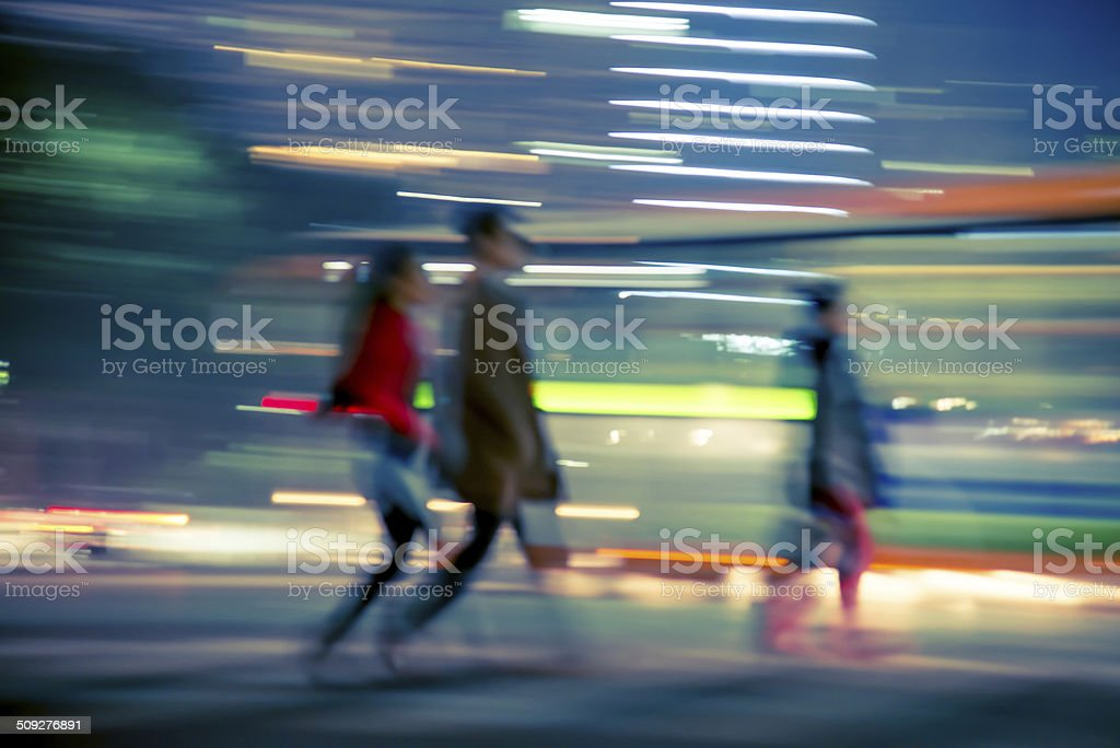 abstract business life at night, unfocus blur. stock photo