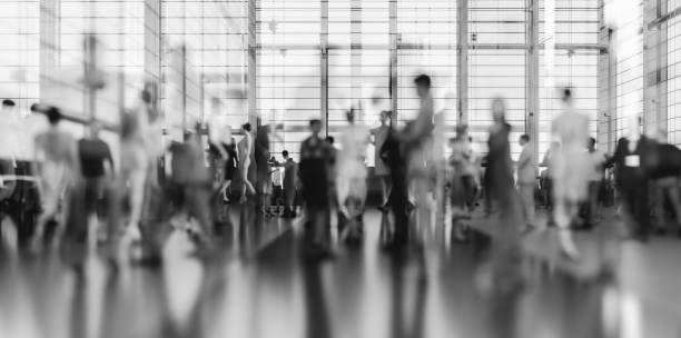 Abstract business people in motion stock photo