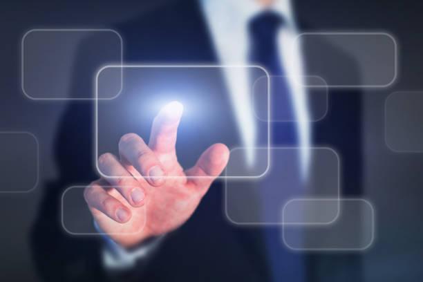 abstract business technology concept on touch screen - leiterdisplay stock-fotos und bilder