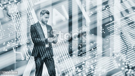 istock Abstract businessman using AI smart phone 1090610504