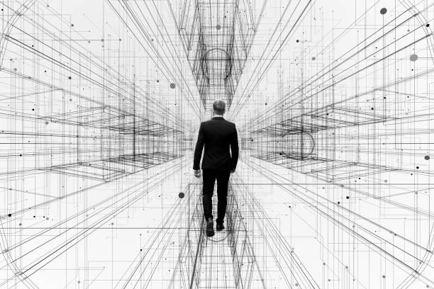 Abstract businessman walking in virtual reality corridor stock photo