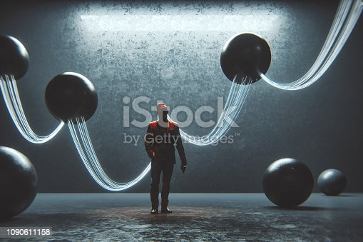 Abstract businessman with wired spheres.