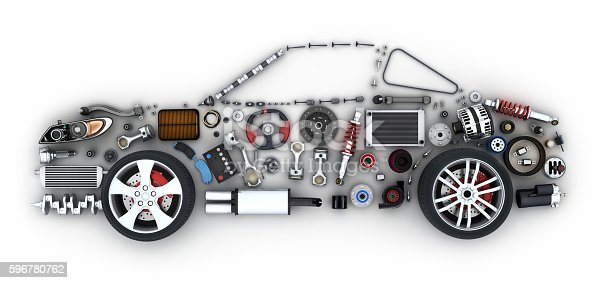 Abstract car and many vehicles parts (done in 3d)