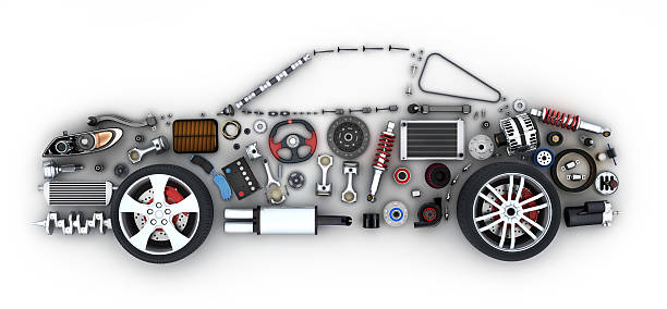 Abstract car and many vehicles parts stock photo