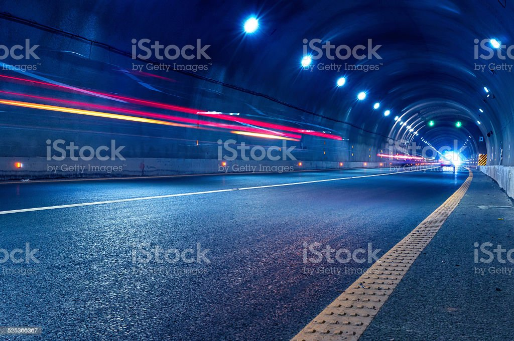 Abstract car in the tunnel trajectory stock photo