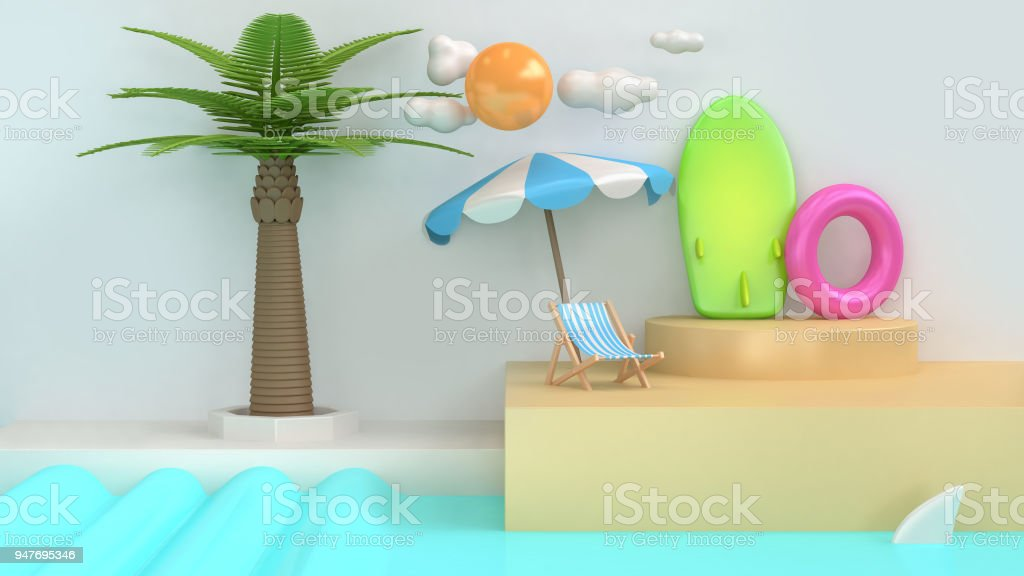 abstract cartoon style sea beach scene coconut-palm tree sun cloud surfboard summer holiday travel sea beach concept minimal 3d rendering stock photo
