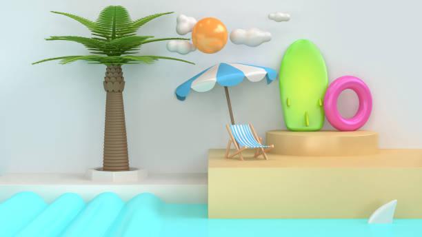 Abstract Cartoon Style Sea Beach Scene Coconut Palm Tree Sun Cloud Surfboard Summer Holiday Travel