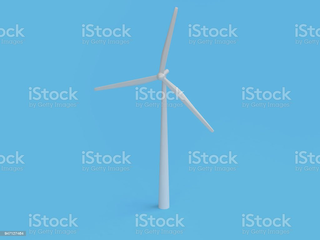 abstract cartoon style wind turbine minimal blue background 3d render,renewable energy environment save earth concept stock photo