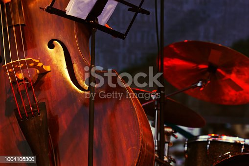 istock Abstract cello image showing the f hole 1004105300