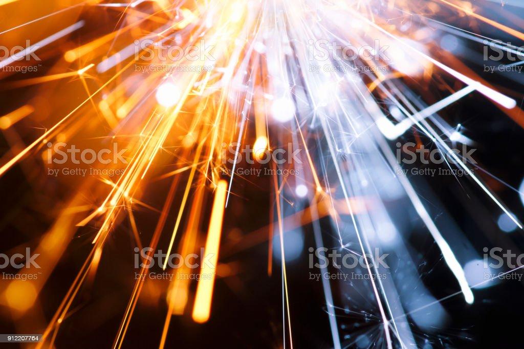 Résumé centrée Sparks bleu jaune - fond fête nouvel an fête technologie - Photo