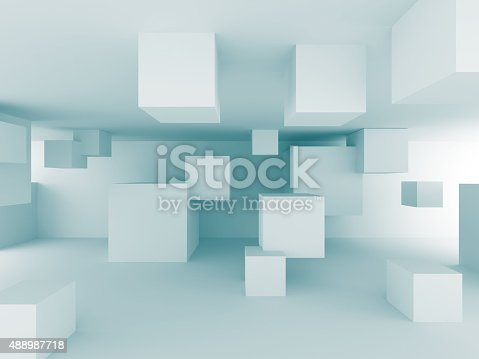 istock Abstract Chaotic Cubes Construction Design Background 488987718