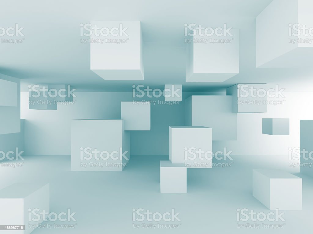 Abstract Chaotic Cubes Construction Design Background stock photo